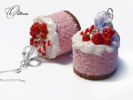 Earrings Raspberry Biscuit 1 by OrionaJewelry