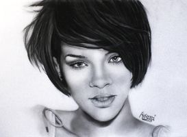 Rihanna Portrait Drawing by Red-Flash-Art
