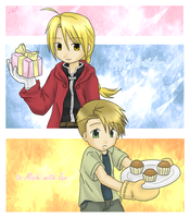 FMA . Elric brothers for Michi by chrissichan