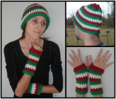 Xmas Colors Beanie and Armwarmer Set by RebelATS