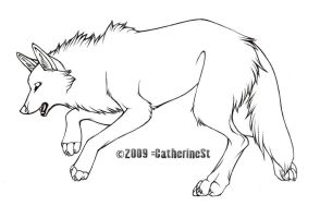 Wolf free lineart by CatherineSt