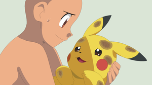 Trainer and injured Pikachu Base by TFAfangirl14