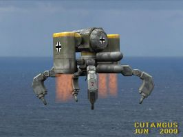 ROBOT FLYING OVER SEA by CUTANGUS