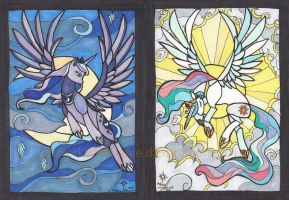 Scanned Handmade MLP postcards Luna and Celestia by mialythila