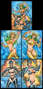 ELEMENTALS SKETCH CARDS FIRE AND WATER by AHochrein2010