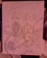 Ghost Rider pencil on Canvas by supersmeg123