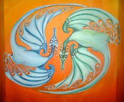 Dragons on the fireplace by WormholePaintings