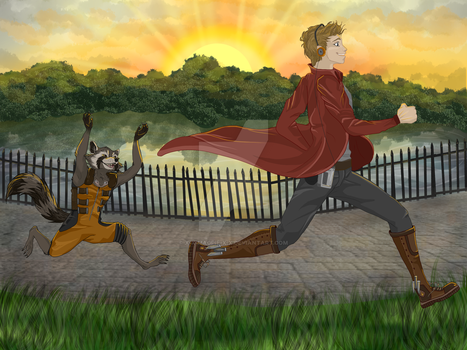 Some people go jogging with their dog... by X-x-Magpie-x-X