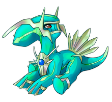 ChibiDex 483 - Dialga (shiny) by ShiroTheWhiteWolf