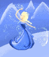 Frozen Elsa Pixel Art by wiissbb123600