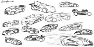 Car Sketches 01 by WoofyDesigns
