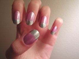 shimmer and metallic french by Insanity-Cake