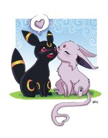 Umberon and Espeon Valentine by amianna