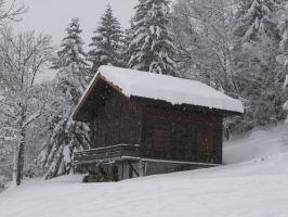 Snowy chalet during snow fall 2 by A1Z2E3R