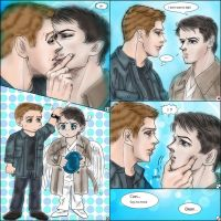 SPN S7.23 fanfic : Destiel kiss and make up by noji1203