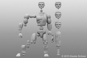 Joint setup for 3D printable caveman action figure by hauke3000