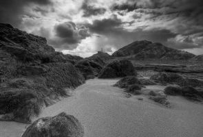 Rain clouds at the beach mono by AngiWallace