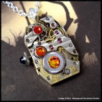 Steampunk Fireopal Necklace by SoulCatcher06