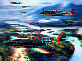 Battle-airplane 3D Anaglyph Rouge Cyan by Fan2Relief3D
