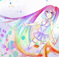 Rainbow Miku by currypan99