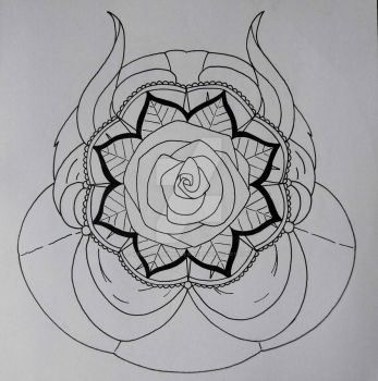 Beauty and the Beast mandala by MelodyLawrenceArt