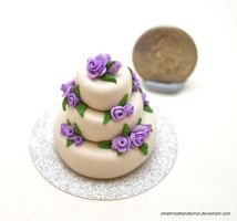 Purple Rose Wedding Cake 2 by SmallCreationsByMel