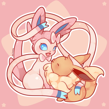 Sylveon and Eevee by SeviYummy