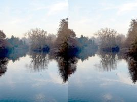 Kelsey Park Lake Watercolour Stereo by aegiandyad