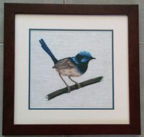 Blue Wren cross stitch by SmiteTheeWithApples
