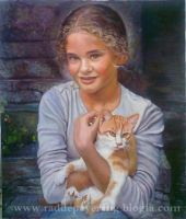 girl and cat by amir-gallery