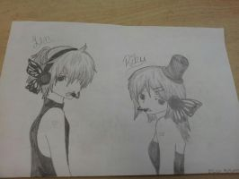 Len and Rin.. Vocaloids.. by deaththechick101