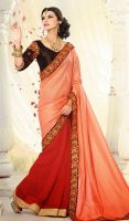 Peach-Puff-and-Red-Brocade-Georgette-Saree-FD-1769 by ethniclover