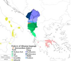 Albanian Dialects Map by ChR1sAlbo