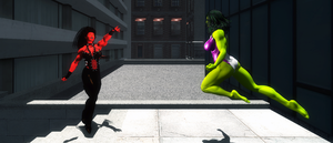 She Hulk vs She Rulk Wide by zzzcomics