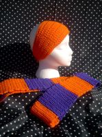 OrangenPurple Scarf and Panta by couldvebeendifferent