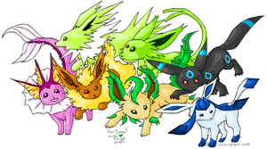 'Shiny' Eevee evolutions by BatChili
