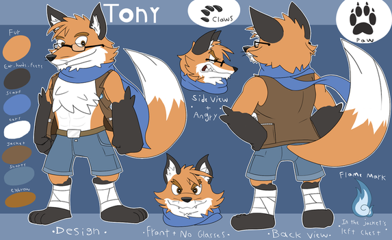 Tony the Fox Reference Sheet by Glassesgator by Shaprite91