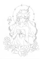 The Virgin .:lineart:. by Angelic-Blossoms