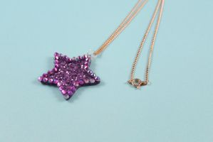 Purple Glitter Star Necklace by PeppermintPuff