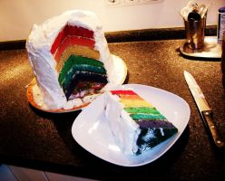 Rainbow layer cake cutted by Pillowbox