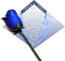 Blue rose wedding card by Morefeous