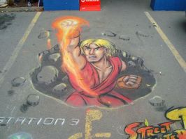 3D shoryuKEN pavement art by CptMunta