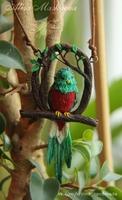 OOAK Quetzal bird pendant from polymer clay by Krinna