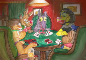 Dogs Playing Cards by Granitoons