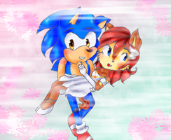 Sonic and Sally by Hollsterweelskitty
