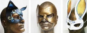 Leather mask trio display by nondecaf