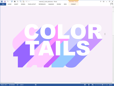 Color Tails text effect in Microsoft Word by upiir