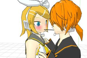 MMD Pocky game with Rin by SnowxChan