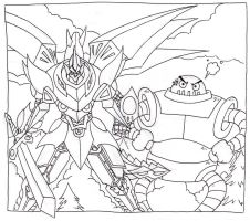 SRW - Cybuster and Boss Borot by kamon-san