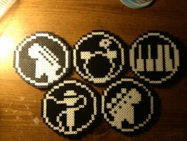 Rock Band Coasters by 8bitsofawesome